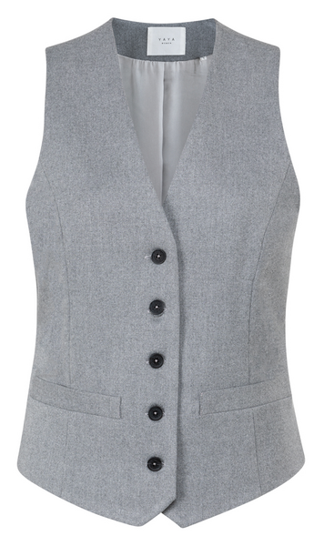 Woven Gilet with strap silver grey