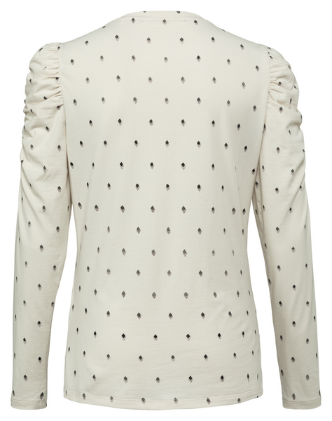 Printed T-shirt with puff sleeves